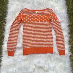 J. Crew Orange/Gray Polka Dot Sweater